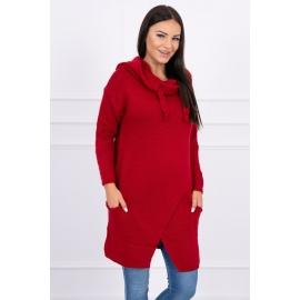 Ženski pleten pulover s kapuco in žepi 2019-6, rdeč