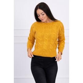 Ženski pleten pulover z daljšim hrbtnim delom 2019-7, gorčično rumen