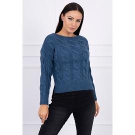 Ženski pleten pulover z daljšim hrbtnim delom 2019-7, jeans moder