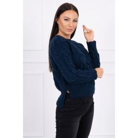 Ženski pleten pulover z daljšim hrbtnim delom 2019-7, temno moder