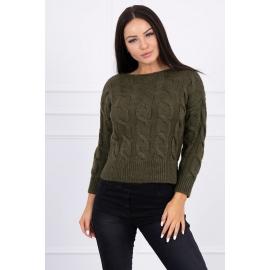 Ženski pleten pulover z daljšim hrbtnim delom 2019-7, kaki