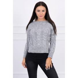 Ženski pleten pulover z daljšim hrbtnim delom 2019-7, siv