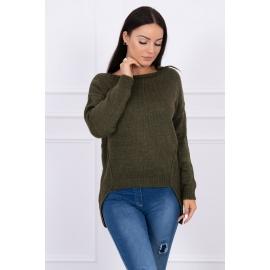 Ženski pleten pulover s krajšim sprednjim delom 2019-9, kaki