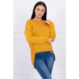 Ženski pleten pulover s krajšim sprednjim delom 2019-9, gorčično rumen