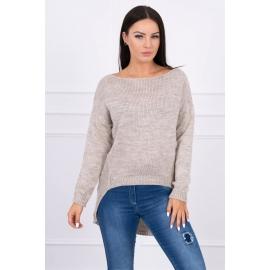 Ženski pleten pulover s krajšim sprednjim delom 2019-9, bež