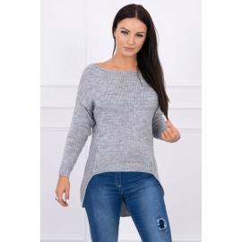 Ženski pleten pulover s krajšim sprednjim delom 2019-9, siv