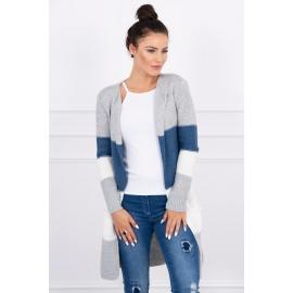 Dolga večbarvna pletena jopica 2019-12, siva/jeans modra/bela