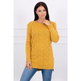 Daljši pleten pulover z daljšim hrbtnim delom 2019-10, gorčično rumen
