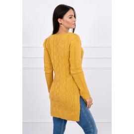 Daljši pleten pulover z daljšim hrbtnim delom
