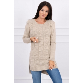 Daljši pleten pulover z daljšim hrbtnim delom 2019-10, svetlo bež