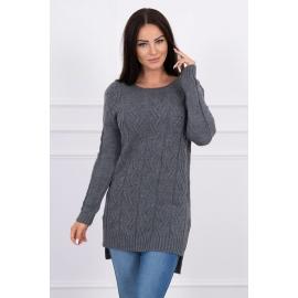 Daljši pleten pulover z daljšim hrbtnim delom 2019-10, temno siv