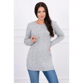 Daljši pleten pulover z daljšim hrbtnim delom 2019-10, siv