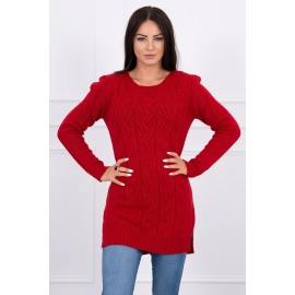 Daljši pleten pulover z daljšim hrbtnim delom 2019-10, rdeč