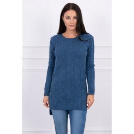 Daljši pleten pulover z daljšim hrbtnim delom 2019-10, jeans moder