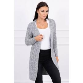 Daljša pletena jopica z vzorci 2019-14, siva