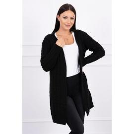 Daljša pletena jopica z vzorci 2019-14, črna