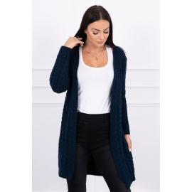 Daljša pletena jopica z vzorci 2019-14, temno modra
