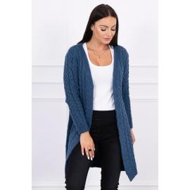 Daljša pletena jopica z vzorci 2019-14, jeans modra