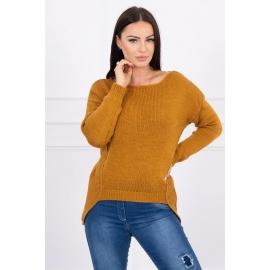 Ženski pleten pulover s krajšim sprednjim delom 2019-9, karamel