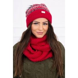 Ženska kapa in šal K123, rdeča