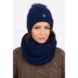 Ženska kapa in šal K125, temno modra