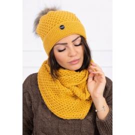 Ženska kapa in šal K125, gorčično rumena