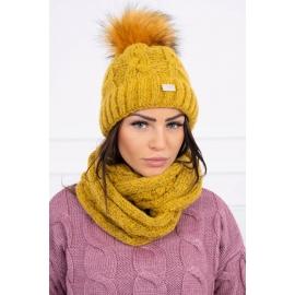 Ženska kapa in šal K127, gorčično rumena