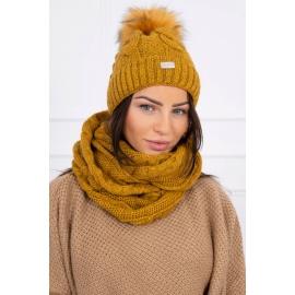 Ženska kapa in šal K124, gorčično rumena
