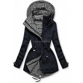 Obojestranska prehodna jakna s pepita vzorcem, temno modra