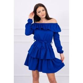 Obleka z volančki in pasom 65986, modra