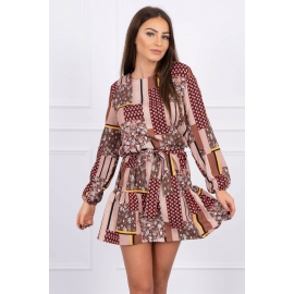 Obleka z vzorci in pasom 66050, kamelna