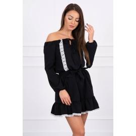 Obleka s čipkastim trakom 66046, črna