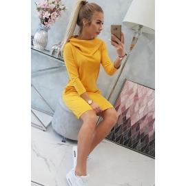 Obleka s kapuco in žepi 8847, gorčično rumena