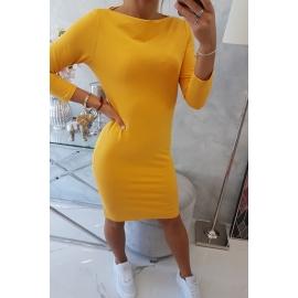 Klasična obleka 8825, gorčično rumena