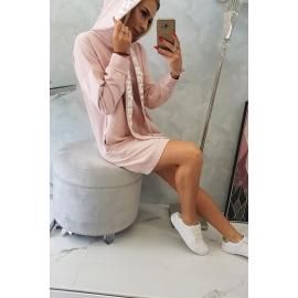 Oversize obleka s kapuco 0042, temna puder roza
