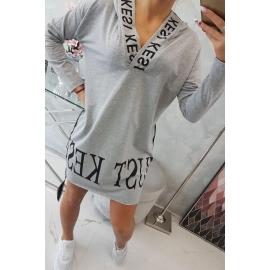 Obleka s kapuco in dekorativnim potiskom 9161, siva