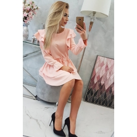 Obleka z volančki 66047, svetlo puder roza