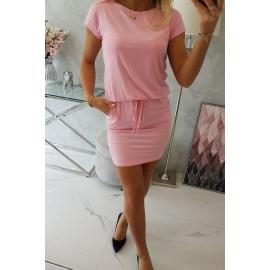 Obleka s kratkimi rokavi in vezavo v pasu 9074, puder roza