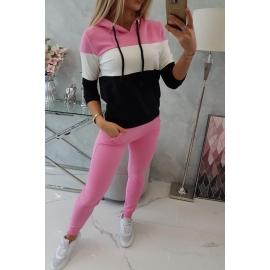 Ženski komplet z večbarvno jopico 8877, svetlo roza/ekru