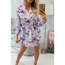 Obleka s cvetličnim vzorcem 9251, ekru