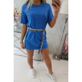 Obleka z okrasnim pasom 9258, modra