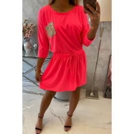 Obleka z bleščečim žepom 9004, neonsko roza