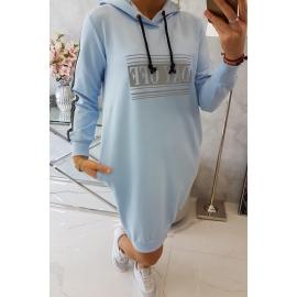Obleka z odsevnim tiskom 67394, svetlo modra