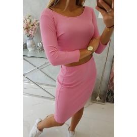 Ženski komplet s topom in krilom 9084, svetlo roza