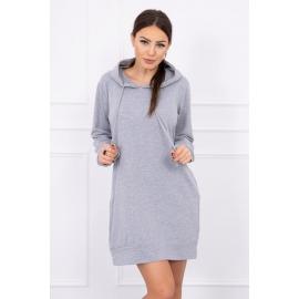 Obleka z žepi in kapuco 0041, siva