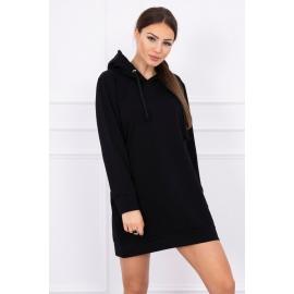 Obleka z žepi in kapuco 0041, črna