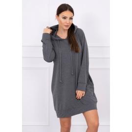 Obleka z žepi in kapuco 0041, temno siva