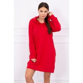Obleka z žepi in kapuco 0041, rdeča