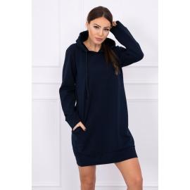 Obleka z žepi in kapuco 0041, temno modra