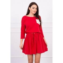 Obleka z vezavo v pasu in bleščečim žepom 0093, rdeča